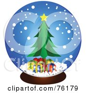 Royalty Free RF Clipart Illustration Of A Christmas Tree And Presents In A Snow Globe by BNP Design Studio