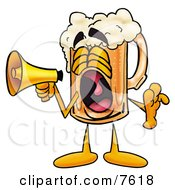 Clipart Picture Of A Beer Mug Mascot Cartoon Character Screaming Into A Megaphone by Toons4Biz
