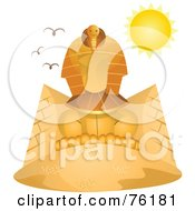 Royalty Free RF Clipart Illustration Of The Sun Shining Over The Great Sphinx by BNP Design Studio