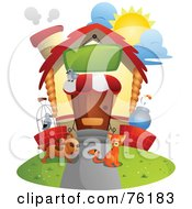 Royalty Free RF Clipart Illustration Of A Unique Pet Home