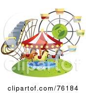 Roller Coaster Carousel And Ferris Wheel At A County Fair Or Amusement Park