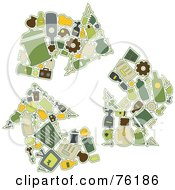 Royalty Free RF Clipart Illustration Of A Collage Of Recycling Icons Forming Three Arrows by BNP Design Studio