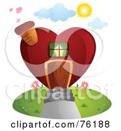Royalty Free RF Clipart Illustration Of A Unique Heart Shaped Home by BNP Design Studio