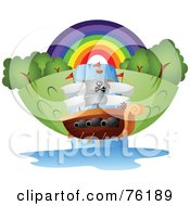 Royalty Free RF Clipart Illustration Of A Pirate Ship Going Down A Waterfall In Front Of A Rainbow by BNP Design Studio