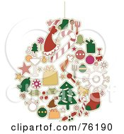 Royalty Free RF Clipart Illustration Of A Collage Of Christmas Icons Forming An Ornament by BNP Design Studio