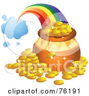 Royalty Free RF Clipart Illustration Of A Rainbow Shooting From A Cloud And Landing Behind A Pot Of Gold by BNP Design Studio