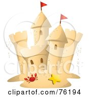 Royalty Free RF Clipart Illustration Of A Crab And Starfish In Front Of A Sand Castle by BNP Design Studio