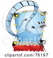 Royalty Free RF Clipart Illustration Of A Movie Cinema With Film Lights And A Camera