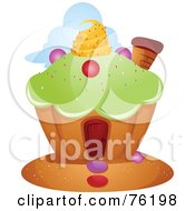 Royalty Free RF Clipart Illustration Of A Unique Cupcake Home by BNP Design Studio