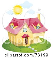 Royalty Free RF Clipart Illustration Of A Summer Sun Beaming Over A Home