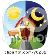 Royalty Free RF Clipart Illustration Of A Unique Day And Night Home