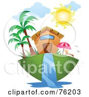 Royalty Free RF Clipart Illustration Of A Unique Tropical Home by BNP Design Studio