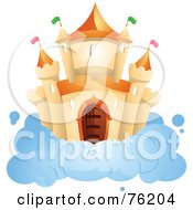 Royalty Free RF Clipart Illustration Of An Orange Castle On A Cloud In The Sky