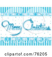 Royalty Free RF Clipart Illustration Of A Blue And White Snowflake Merry Christmas Greeting