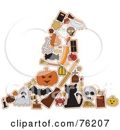 Royalty Free RF Clipart Illustration Of A Collage Of Halloween Icons Forming A Witch Hat