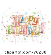 Royalty Free RF Clipart Illustration Of A Colorful Happy Birthday Swirl Greeting by BNP Design Studio