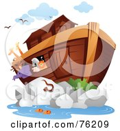 Royalty Free RF Clipart Illustration Of Animals On And Swimming Near Noahs Arc