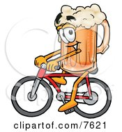 Clipart Picture Of A Beer Mug Mascot Cartoon Character Riding A Bicycle by Toons4Biz #COLLC7621-0015