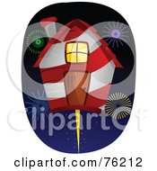 Royalty Free RF Clipart Illustration Of A Unique Birdhouse With Fireworks by BNP Design Studio