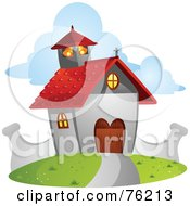 Royalty Free RF Clipart Illustration Of A Cute Chapel With A Red Roof