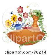 Royalty Free RF Clipart Illustration Of A Floating Garden With Butterflies Bees And Flowers by BNP Design Studio