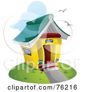 Royalty Free RF Clipart Illustration Of A Unique Library Building With A Book Roof
