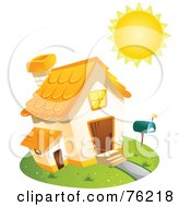 Royalty Free RF Clipart Illustration Of A Sun Shining On A Home by BNP Design Studio