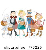 Group Of Halloween Children Trick Or Treating As A Ghost Vampire Princess Super Hero And Cat