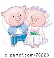 Royalty Free RF Clipart Illustration Of A Happy Pig Bride And Groom Getting Married