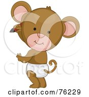 Royalty Free RF Clipart Illustration Of A Cute Baby Monkey In A Diaper Drawing On A Wall