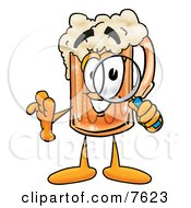 Clipart Picture Of A Beer Mug Mascot Cartoon Character Looking Through A Magnifying Glass by Toons4Biz