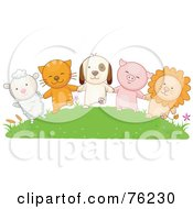 Lamb Cat Dog Pig And Lion Holding Hands On A Grassy Hill