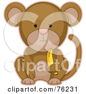 Royalty Free RF Clipart Illustration Of A Cute Baby Monkey Sitting With A Banana