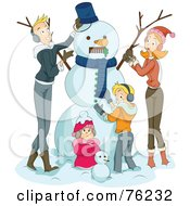 Royalty Free RF Clipart Illustration Of A Happy Family Making A Snowman Together