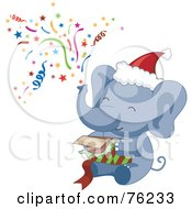 Royalty Free RF Clipart Illustration Of A Christmas Elephant Shooting Confetti Out Of His Trunk And Opening A Gift