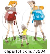Royalty Free RF Clipart Illustration Of A Mom Dad And Son Hiking To The Top Of A Hill