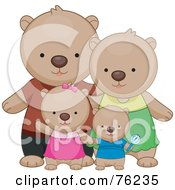 Royalty Free RF Clipart Illustration Of A Happy Bear Family Standing Together