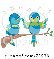 Royalty Free RF Clipart Illustration Of A Parrot Pair Singing On A Branch by BNP Design Studio