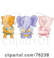 Royalty Free RF Clipart Illustration Of A Cat Elephant And Pig Wearing Bikinis