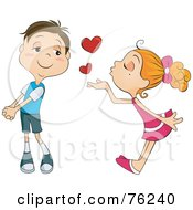 Royalty Free RF Clipart Illustration Of A Blond Girl Blowing Heart Kisses At An Infatuated Boy by BNP Design Studio