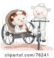 Royalty Free RF Clipart Illustration Of A Sheep Groom Transporting His Bride In A Carriage by bnpdesignstudio