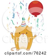 Happy Birthday Hamster Wearing A Party Hat And Holding A Balloon