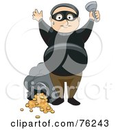 Royalty Free RF Clipart Illustration Of A Sweaty Thief Holding His Hands Up After Robbing A Bank
