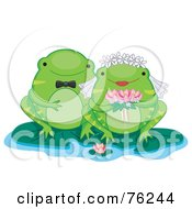 Royalty Free RF Clipart Illustration Of A Frog Wedding Couple On Lilypads by BNP Design Studio