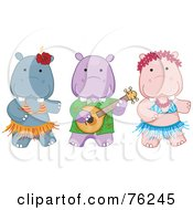 Royalty Free RF Clipart Illustration Of A Hawaiian Hippo Luau