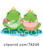 Royalty Free RF Clipart Illustration Of A Frog King And Queen On Lilypads