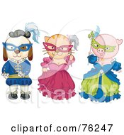 Royalty Free RF Clipart Illustration Of A Dog Cat And Pig Dressed In Historical Costumes