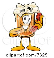 Clipart Picture Of A Beer Mug Mascot Cartoon Character Holding A Telephone by Toons4Biz