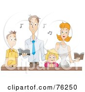 Royalty Free RF Clipart Illustration Of A Family Singing At Mass by BNP Design Studio