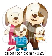 Royalty Free RF Clipart Illustration Of A Happy Doggy Family With Two Pups